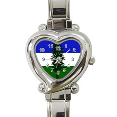 Flag 0f Cascadia Heart Italian Charm Watch