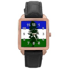 Flag 0f Cascadia Rose Gold Leather Watch