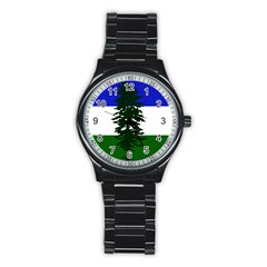 Flag 0f Cascadia Stainless Steel Round Watch