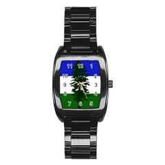 Flag 0f Cascadia Stainless Steel Barrel Watch