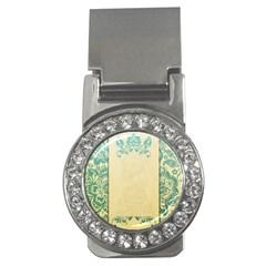 Art Nouveau Green Money Clips (cz)