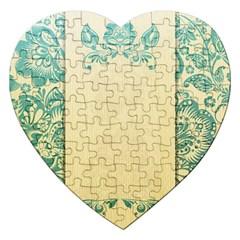 Art Nouveau Green Jigsaw Puzzle (heart)