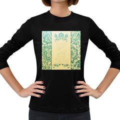 Art Nouveau Green Women s Long Sleeve Dark T Shirts
