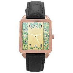 Art Nouveau Green Rose Gold Leather Watch