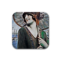 Lady Of Summer 1920 Art Deco Rubber Square Coaster (4 Pack)