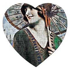 Lady Of Summer 1920 Art Deco Jigsaw Puzzle (heart)