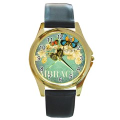 Embrace Shabby Chic Collage Round Gold Metal Watch
