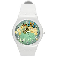 Embrace Shabby Chic Collage Round Plastic Sport Watch (m)
