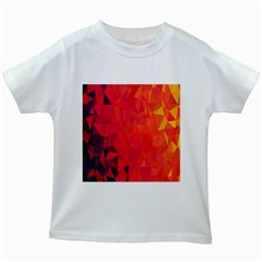 Triangle Geometric Mosaic Pattern Kids White T Shirts