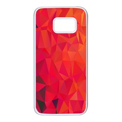 Triangle Geometric Mosaic Pattern Samsung Galaxy S7 White Seamless Case