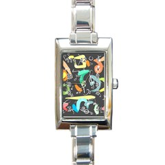 Repetition Seamless Child Sketch Rectangle Italian Charm Watch