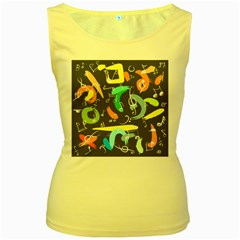 Repetition Seamless Child Sketch Women s Yellow Tank Top
