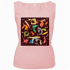 Repetition Seamless Child Sketch Women s Pink Tank Top