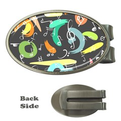 Repetition Seamless Child Sketch Money Clips (oval)