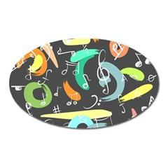 Repetition Seamless Child Sketch Oval Magnet