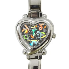 Repetition Seamless Child Sketch Heart Italian Charm Watch