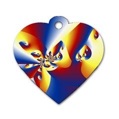 Mandelbrot Math Fractal Pattern Dog Tag Heart (one Side)