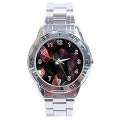 Crystals Background Design Luxury Stainless Steel Analogue Watch