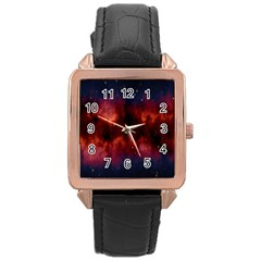 Astronomy Space Galaxy Fog Rose Gold Leather Watch