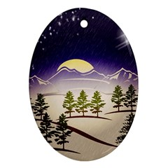 Background Christmas Snow Figure Ornament (oval)