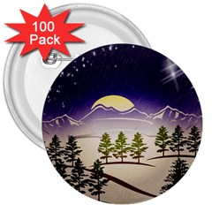Background Christmas Snow Figure 3  Buttons (100 Pack)