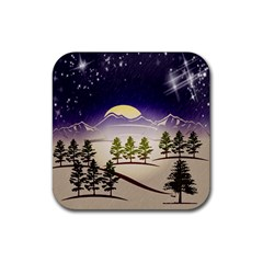 Background Christmas Snow Figure Rubber Square Coaster (4 Pack)