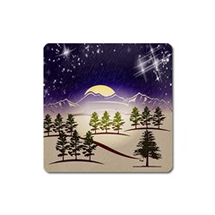 Background Christmas Snow Figure Square Magnet