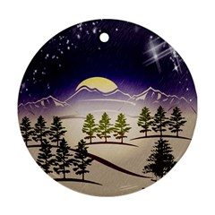 Background Christmas Snow Figure Round Ornament (two Sides)