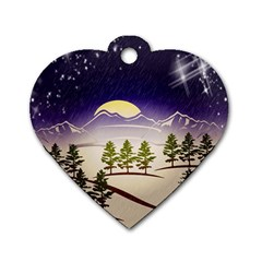 Background Christmas Snow Figure Dog Tag Heart (two Sides)