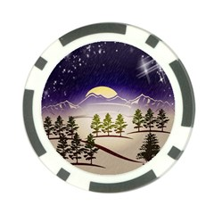 Background Christmas Snow Figure Poker Chip Card Guard