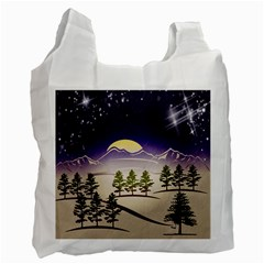 Background Christmas Snow Figure Recycle Bag (one Side)