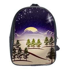 Background Christmas Snow Figure School Bag (large)
