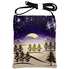 Background Christmas Snow Figure Shoulder Sling Bags