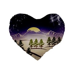 Background Christmas Snow Figure Standard 16  Premium Heart Shape Cushions