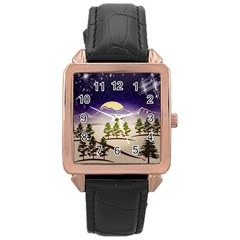Background Christmas Snow Figure Rose Gold Leather Watch
