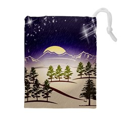 Background Christmas Snow Figure Drawstring Pouches (extra Large)