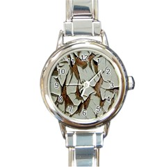Dry Nature Pattern Background Round Italian Charm Watch