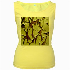 Dry Nature Pattern Background Women s Yellow Tank Top