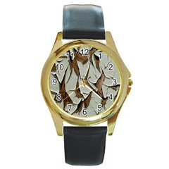 Dry Nature Pattern Background Round Gold Metal Watch