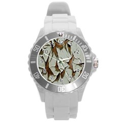 Dry Nature Pattern Background Round Plastic Sport Watch (l)
