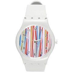 Background Decorate Colors Round Plastic Sport Watch (m)