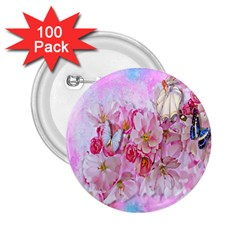 Nice Nature Flowers Plant Ornament 2 25  Buttons (100 Pack)