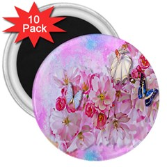 Nice Nature Flowers Plant Ornament 3  Magnets (10 Pack)