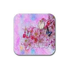 Nice Nature Flowers Plant Ornament Rubber Square Coaster (4 Pack)