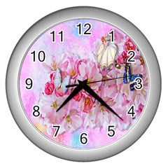 Nice Nature Flowers Plant Ornament Wall Clocks (silver)
