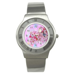 Nice Nature Flowers Plant Ornament Stainless Steel Watch