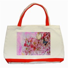 Nice Nature Flowers Plant Ornament Classic Tote Bag (red)
