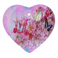 Nice Nature Flowers Plant Ornament Heart Ornament (two Sides)