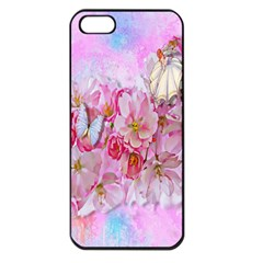 Nice Nature Flowers Plant Ornament Apple Iphone 5 Seamless Case (black)
