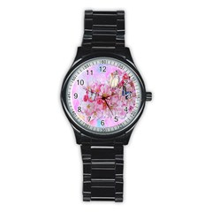 Nice Nature Flowers Plant Ornament Stainless Steel Round Watch